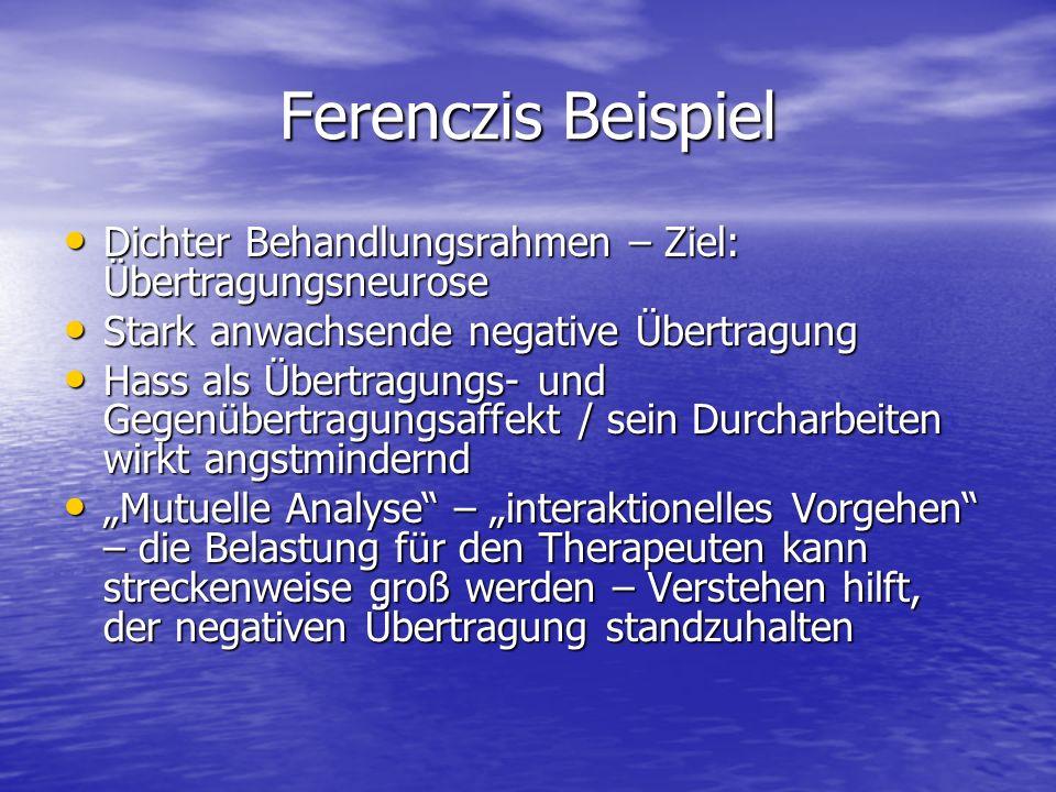 Ferenczis Beispiel Dichter Behandlungsrahmen – Ziel: Übertragungsneurose. Stark anwachsende negative Übertragung.
