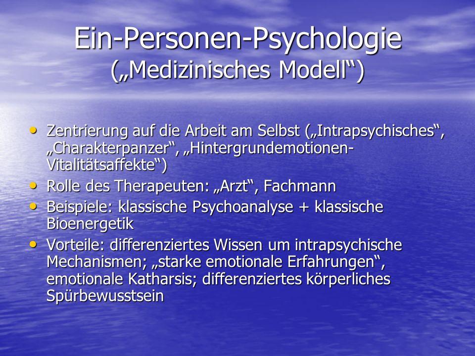 """Ein-Personen-Psychologie (""""Medizinisches Modell )"""