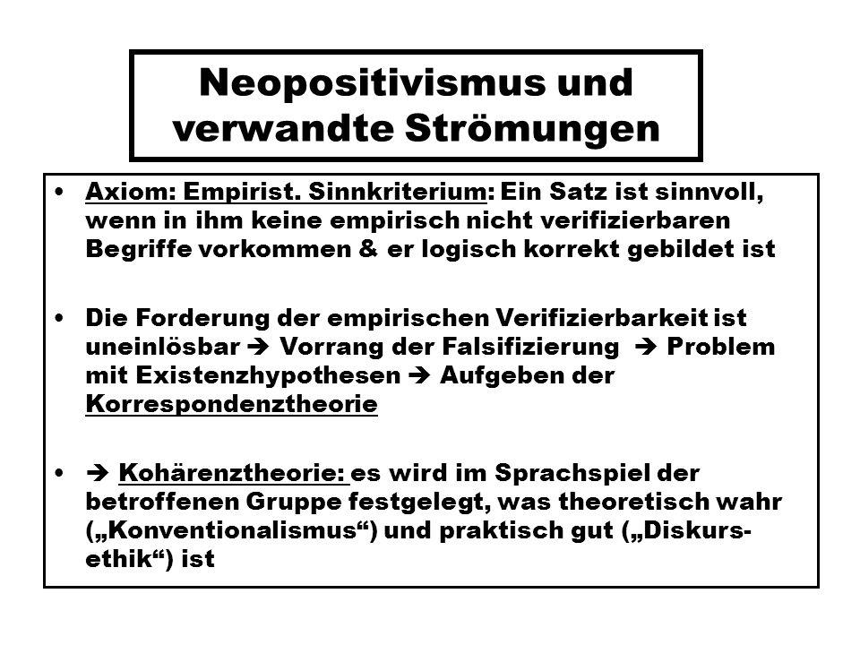 Neopositivismus und verwandte Strömungen