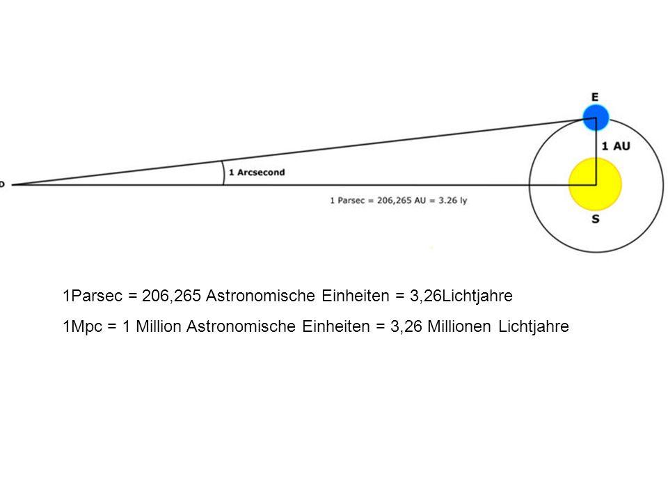 1Parsec = 206,265 Astronomische Einheiten = 3,26Lichtjahre