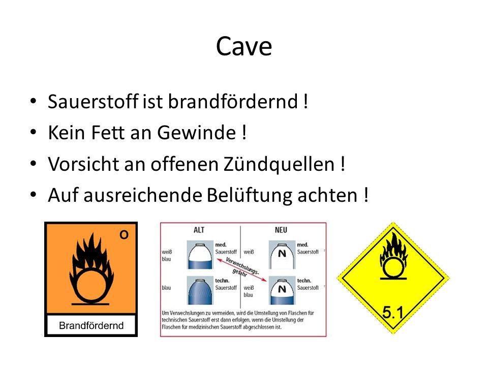 Cave Sauerstoff ist brandfördernd ! Kein Fett an Gewinde !