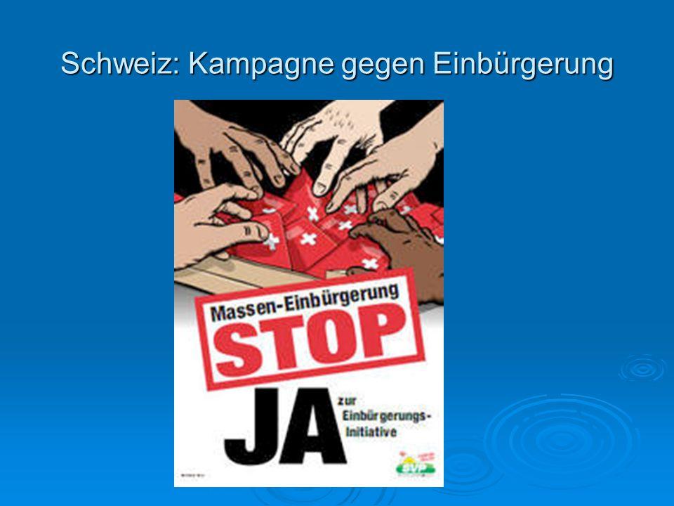 Schweiz: Kampagne gegen Einbürgerung