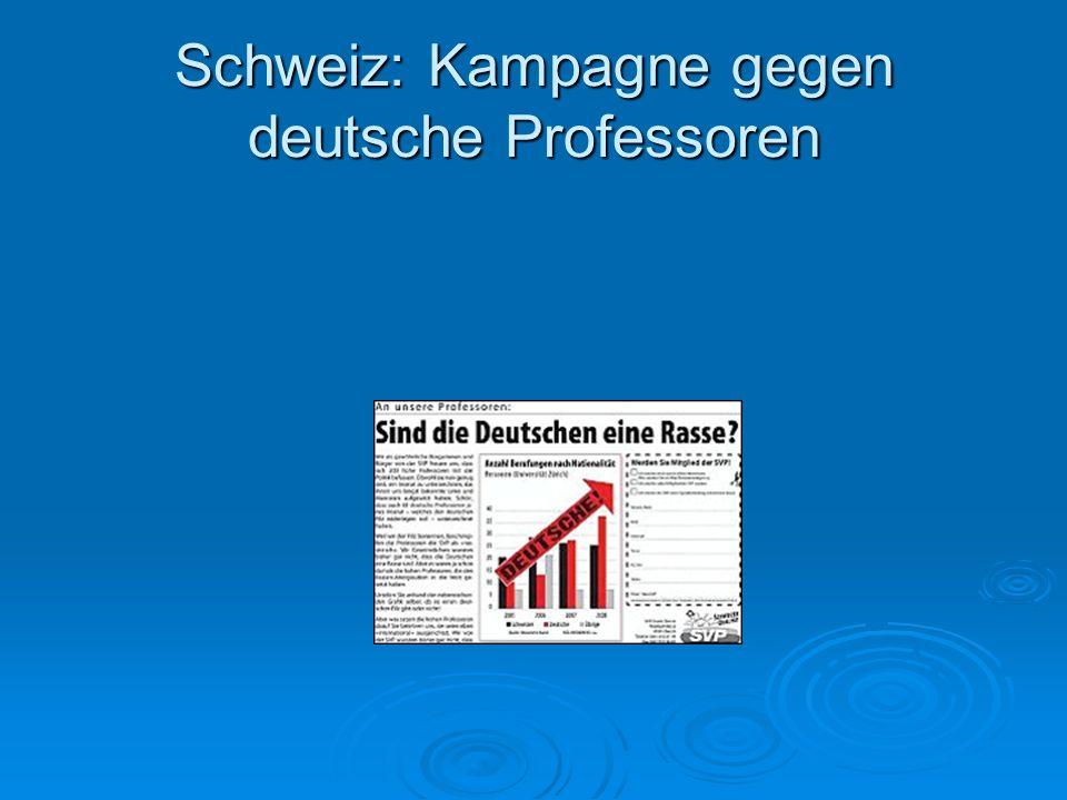 Schweiz: Kampagne gegen deutsche Professoren
