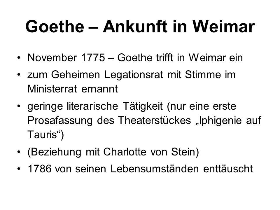Goethe – Ankunft in Weimar