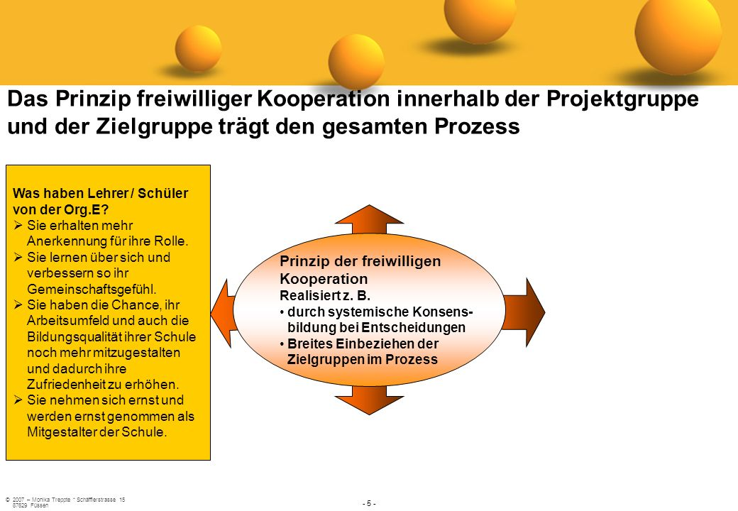 Das Prinzip freiwilliger Kooperation innerhalb der Projektgruppe und der Zielgruppe trägt den gesamten Prozess