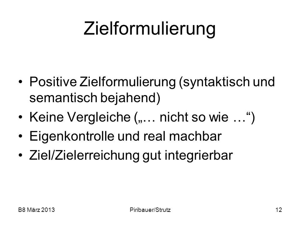 """Zielformulierung Positive Zielformulierung (syntaktisch und semantisch bejahend) Keine Vergleiche (""""… nicht so wie … )"""