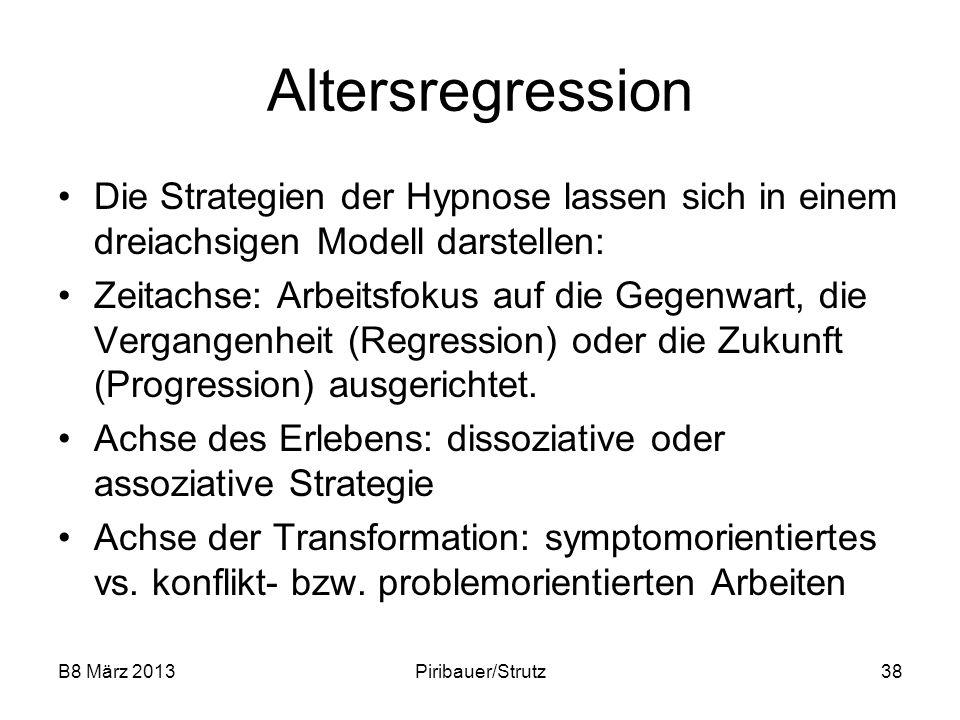 Altersregression Die Strategien der Hypnose lassen sich in einem dreiachsigen Modell darstellen: