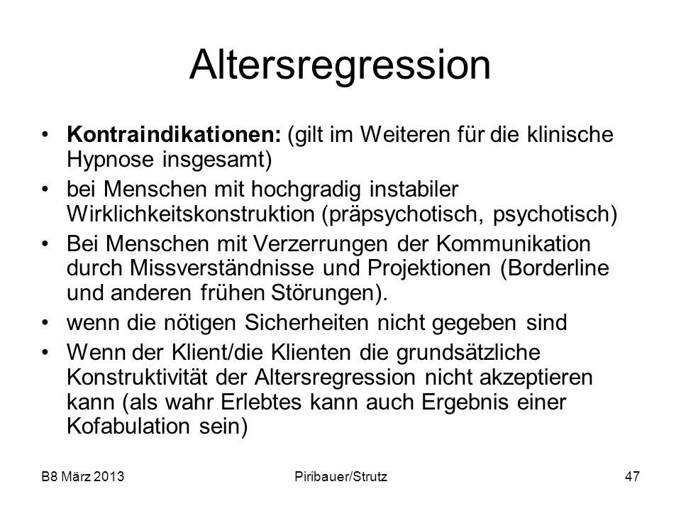 Altersregression Kontraindikationen: (gilt im Weiteren für die klinische Hypnose insgesamt)