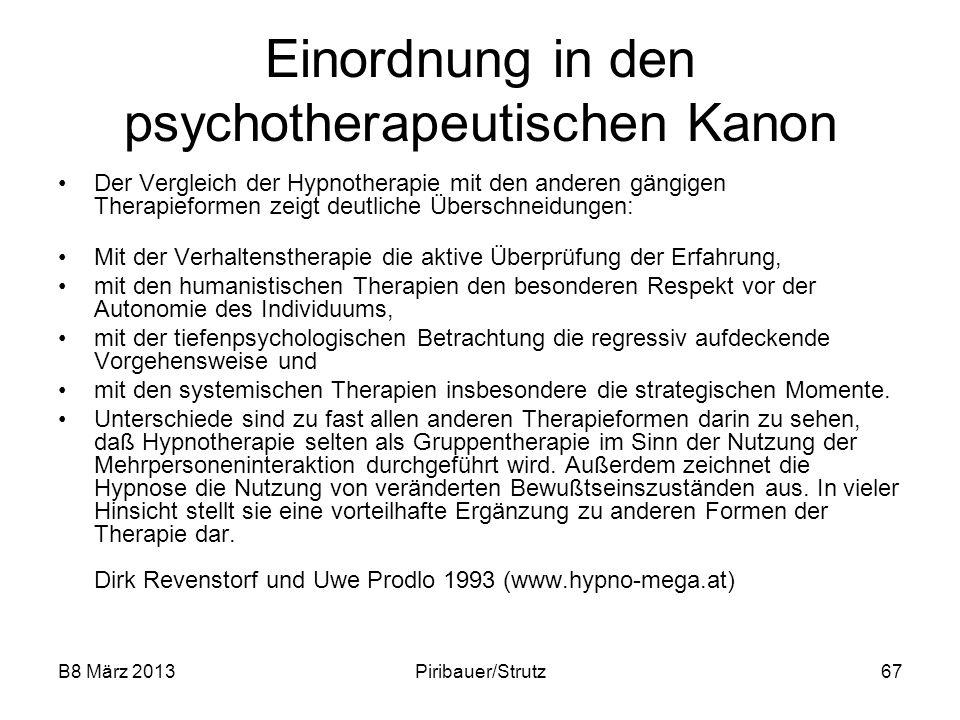 Einordnung in den psychotherapeutischen Kanon