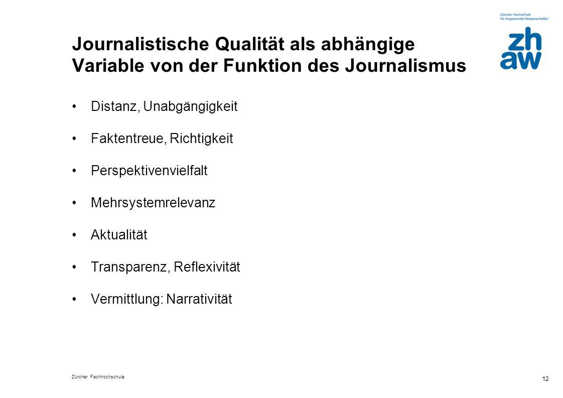 Journalistische Qualität als abhängige Variable von der Funktion des Journalismus