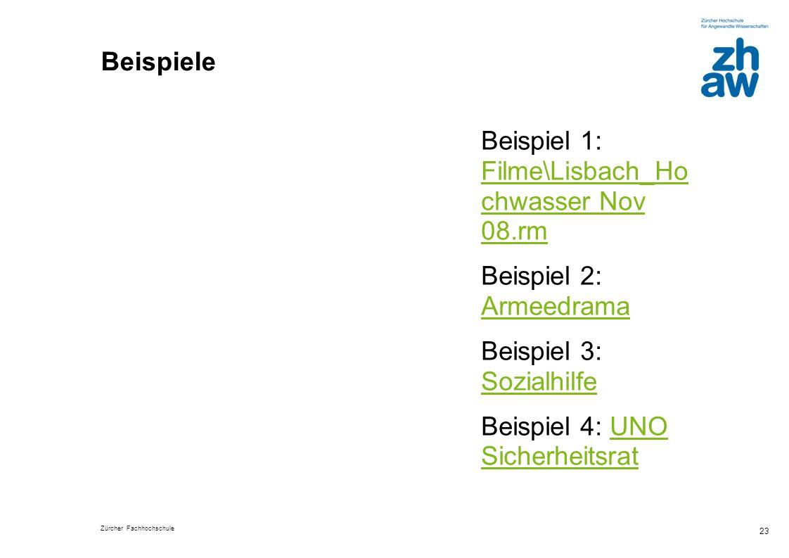 Beispiele Beispiel 1: Filme\Lisbach_Ho chwasser Nov 08.rm. Beispiel 2: Armeedrama. Beispiel 3: Sozialhilfe.