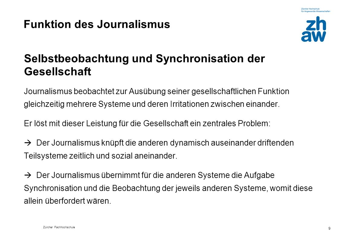 Funktion des Journalismus