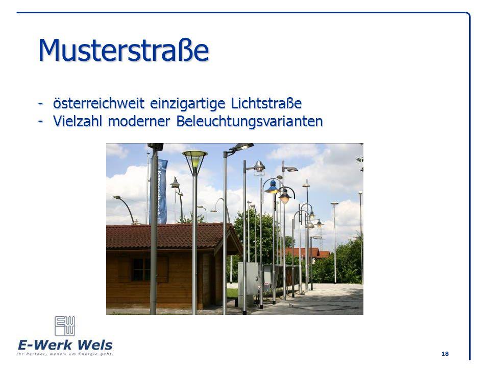 Musterstraße -. österreichweit einzigartige Lichtstraße -