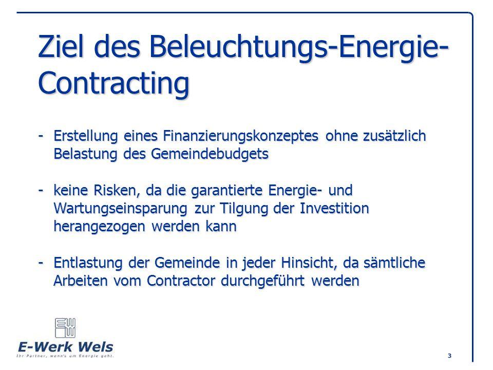 Ziel des Beleuchtungs-Energie-Contracting -