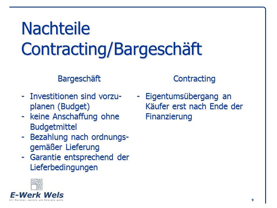 Nachteile Contracting/Bargeschäft. Bargeschäft. Contracting -