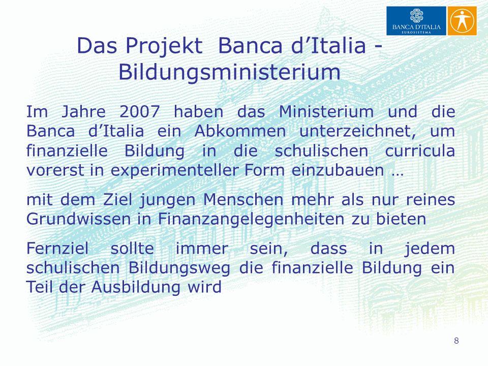 Das Projekt Banca d'Italia - Bildungsministerium