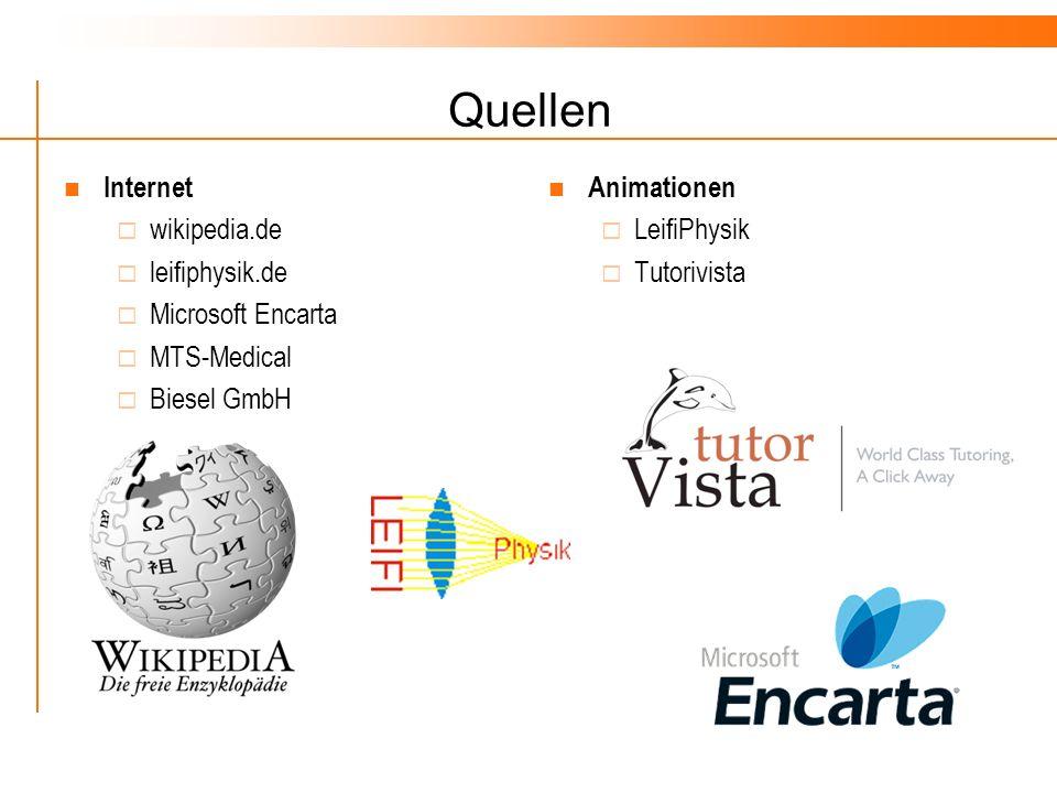 Quellen Internet wikipedia.de leifiphysik.de Microsoft Encarta