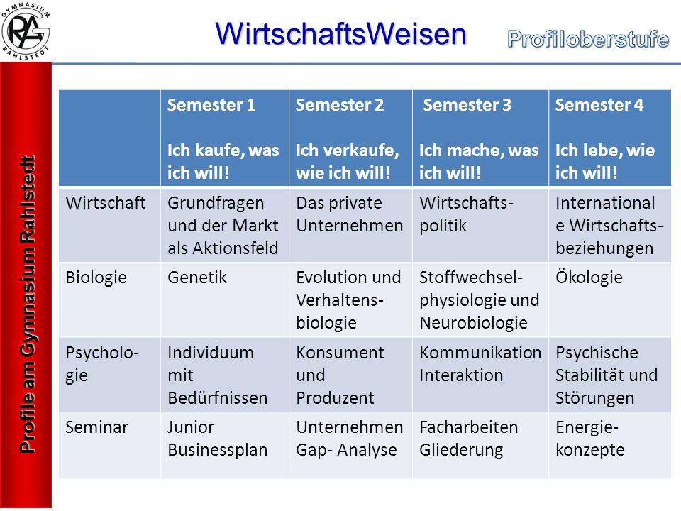 WirtschaftsWeisen Profile am Gymnasium Rahlstedt Semester 1