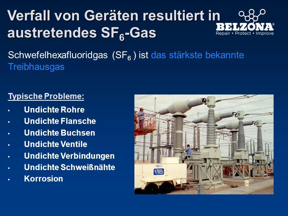 Verfall von Geräten resultiert in austretendes SF6-Gas