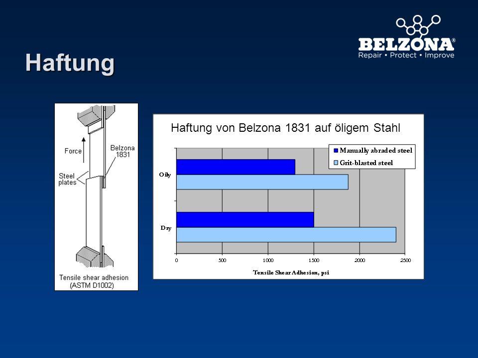 Haftung Haftung von Belzona 1831 auf öligem Stahl