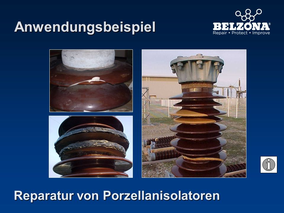 Anwendungsbeispiel Reparatur von Porzellanisolatoren