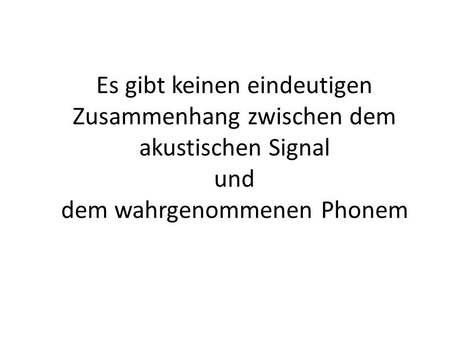 Es gibt keinen eindeutigen Zusammenhang zwischen dem akustischen Signal und dem wahrgenommenen Phonem