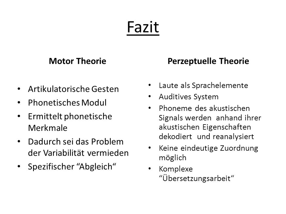 Fazit Motor Theorie Perzeptuelle Theorie Artikulatorische Gesten