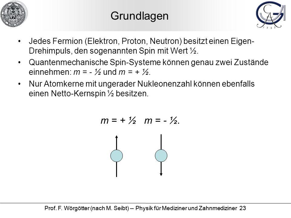 Grundlagen Jedes Fermion (Elektron, Proton, Neutron) besitzt einen Eigen-Drehimpuls, den sogenannten Spin mit Wert ½.