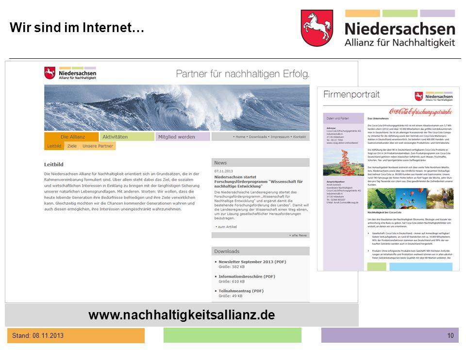 Wir sind im Internet… www.nachhaltigkeitsallianz.de