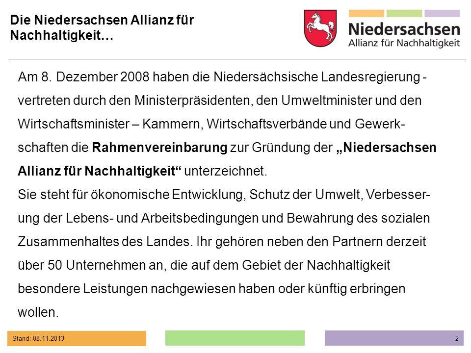 Die Niedersachsen Allianz für Nachhaltigkeit…