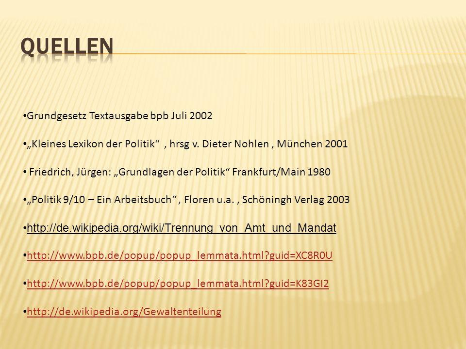 Quellen Grundgesetz Textausgabe bpb Juli 2002
