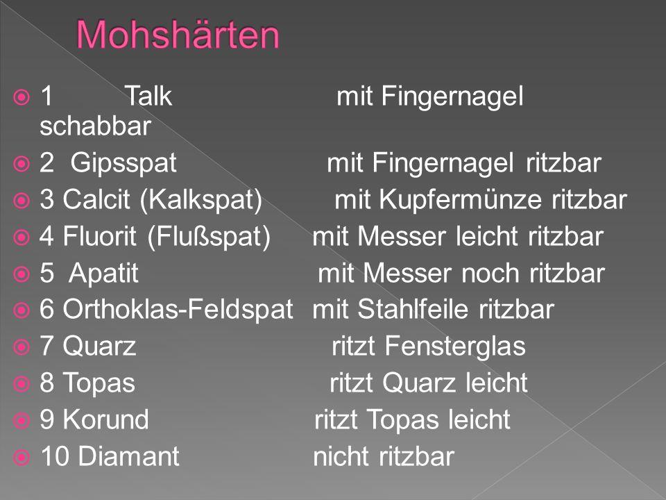 Mohshärten 1 Talk mit Fingernagel schabbar