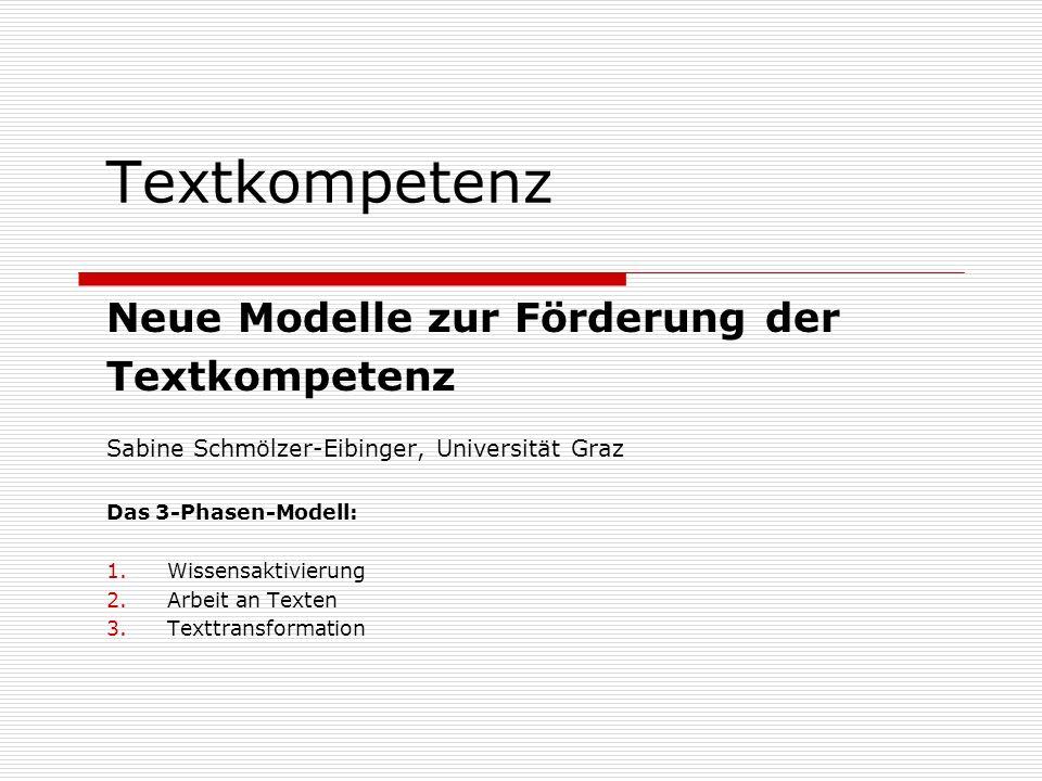 Textkompetenz Neue Modelle zur Förderung der Textkompetenz
