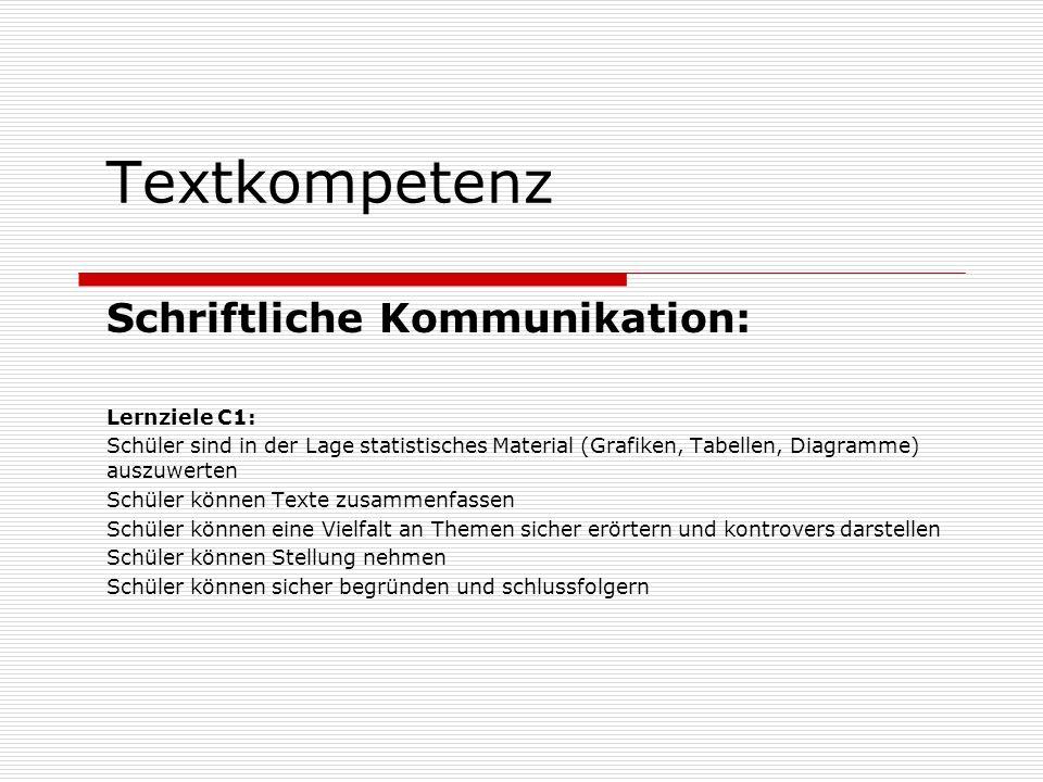 Textkompetenz Schriftliche Kommunikation: Lernziele C1: