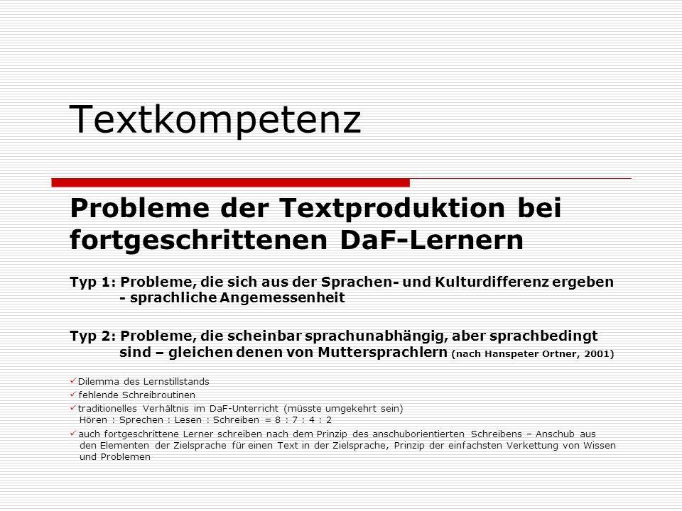 Textkompetenz Probleme der Textproduktion bei fortgeschrittenen DaF-Lernern.