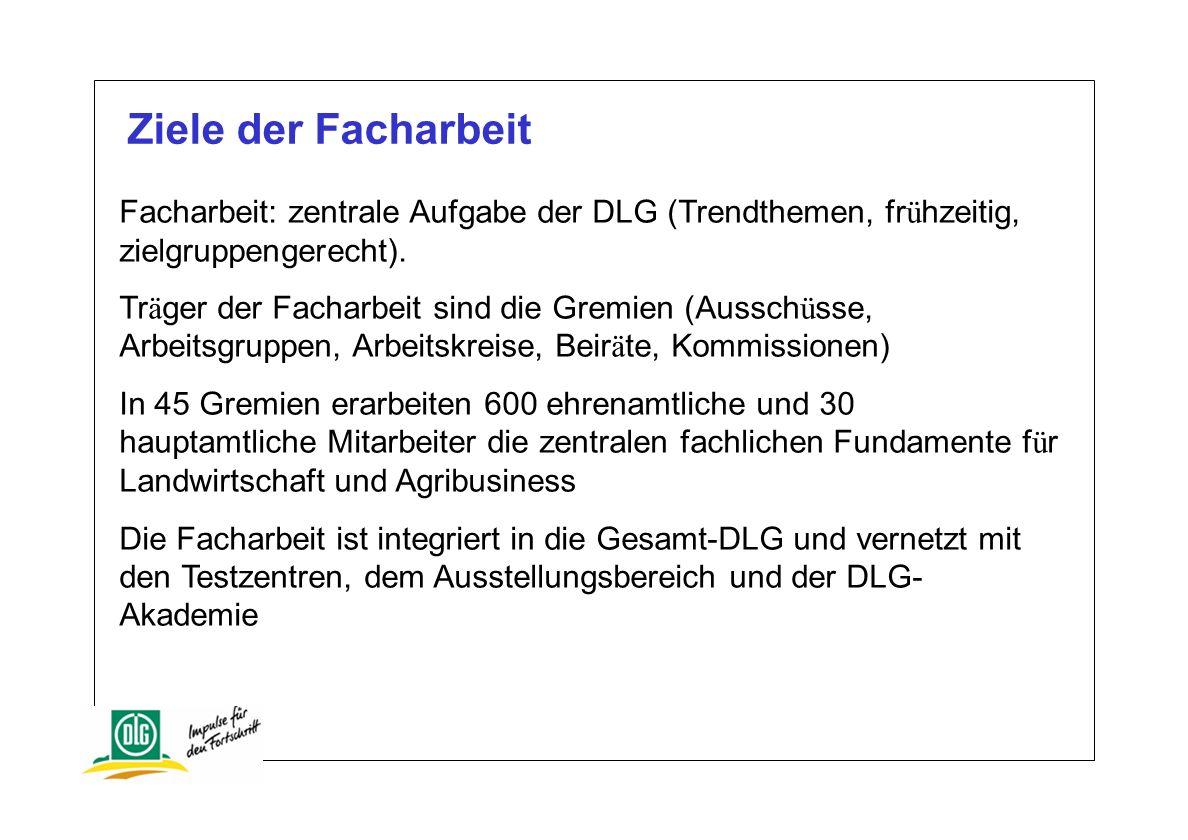 Ziele der Facharbeit Facharbeit: zentrale Aufgabe der DLG (Trendthemen, frühzeitig, zielgruppengerecht).