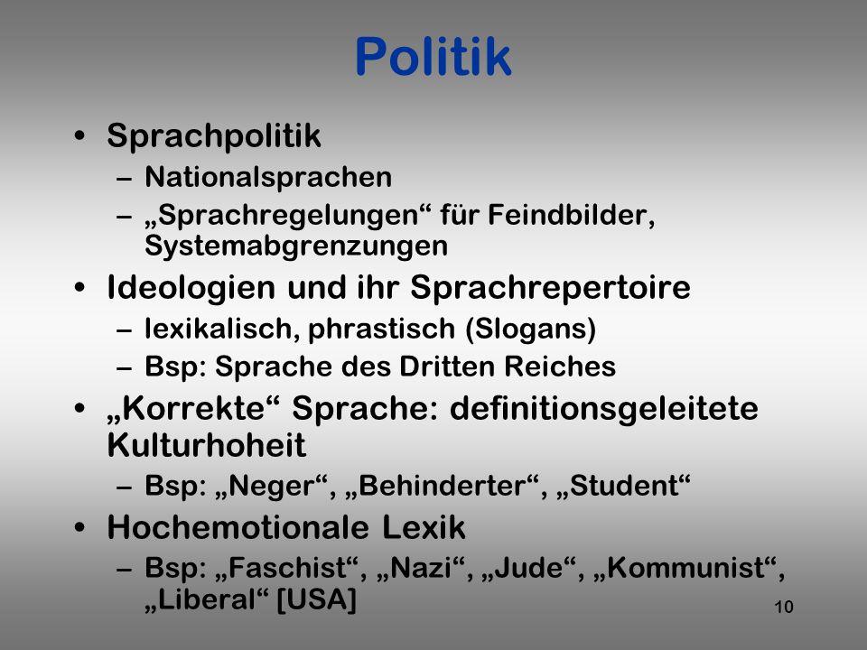 Politik Sprachpolitik Ideologien und ihr Sprachrepertoire