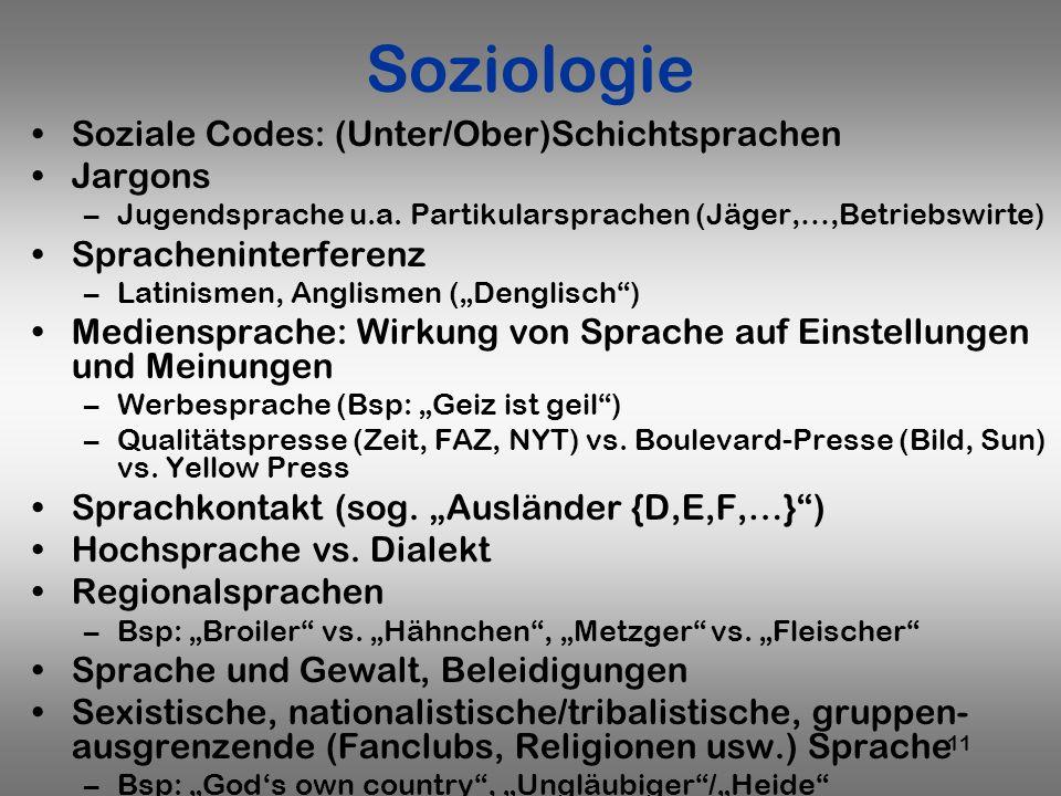 Soziologie Soziale Codes: (Unter/Ober)Schichtsprachen Jargons