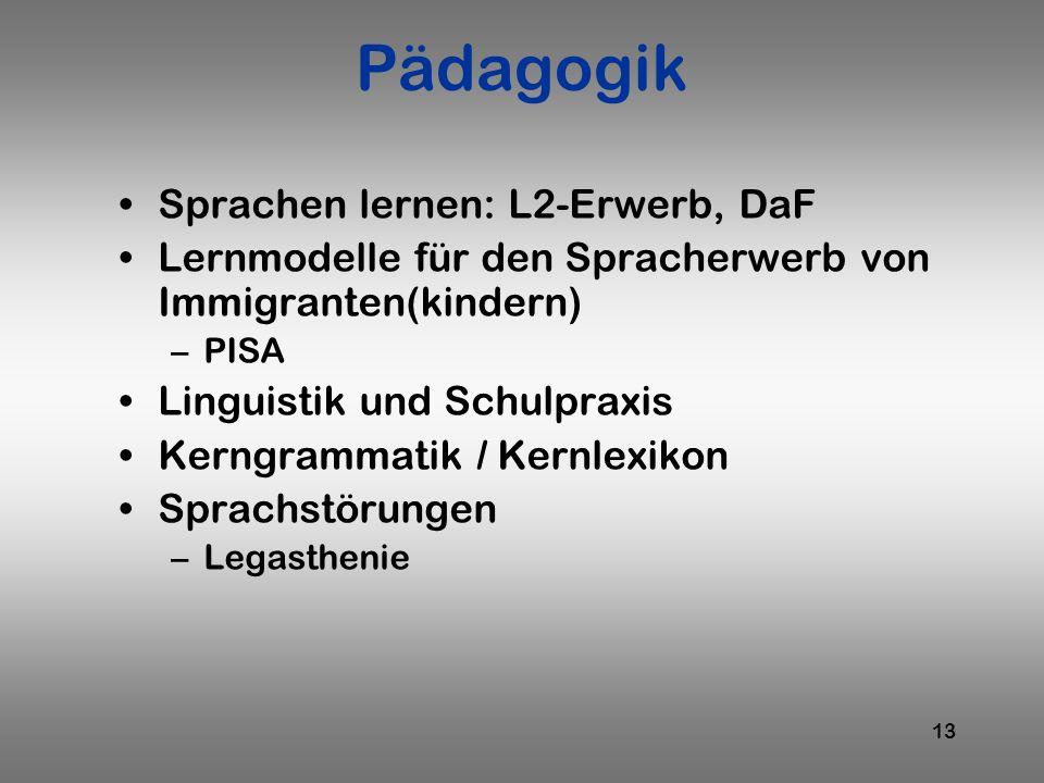 Pädagogik Sprachen lernen: L2-Erwerb, DaF