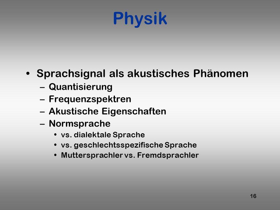 Physik Sprachsignal als akustisches Phänomen Quantisierung