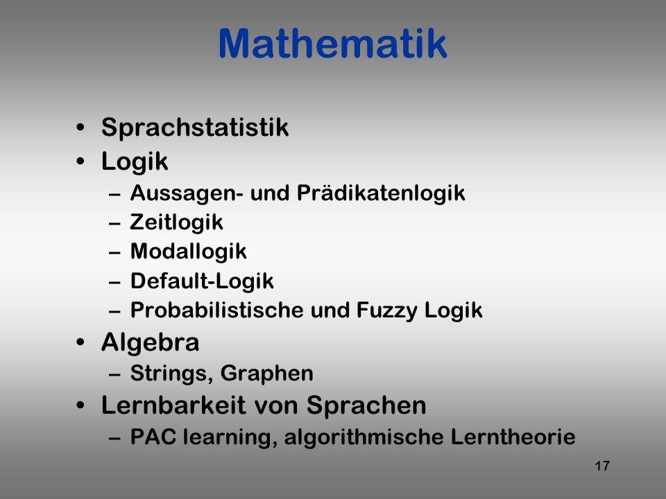 Mathematik Sprachstatistik Logik Algebra Lernbarkeit von Sprachen