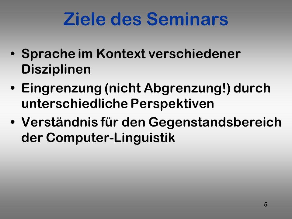 Ziele des Seminars Sprache im Kontext verschiedener Disziplinen