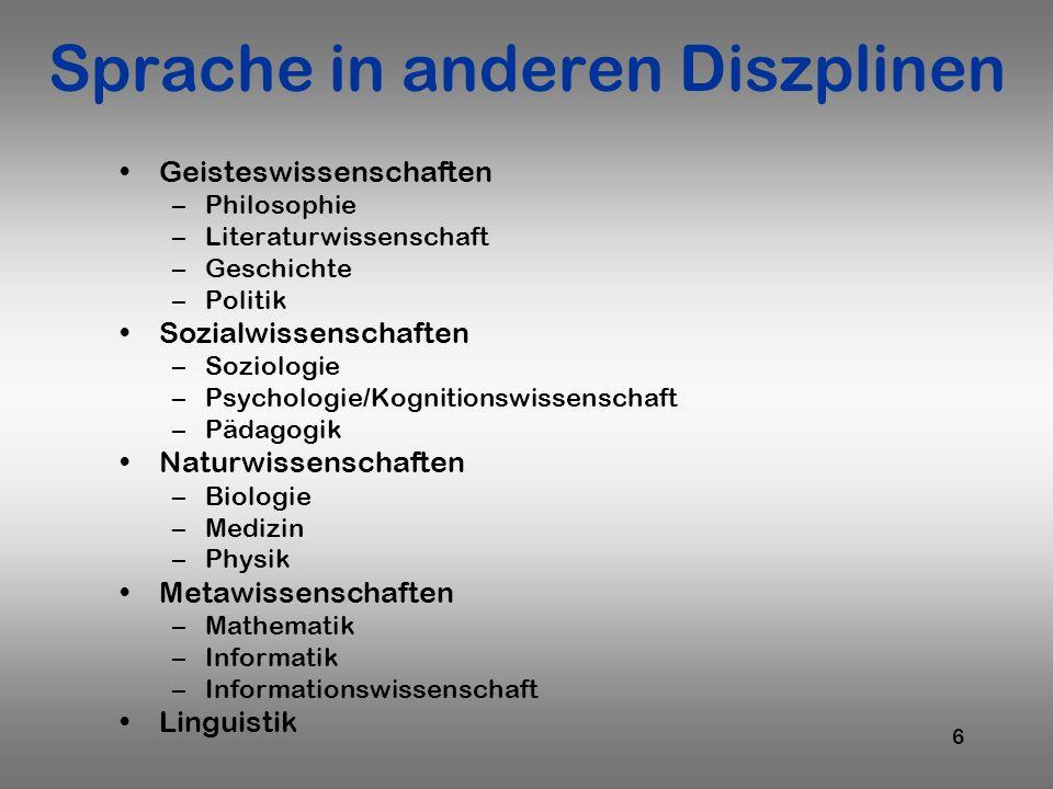 Sprache in anderen Diszplinen