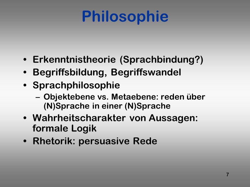 Philosophie Erkenntnistheorie (Sprachbindung )