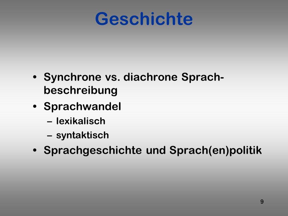 Geschichte Synchrone vs. diachrone Sprach-beschreibung Sprachwandel