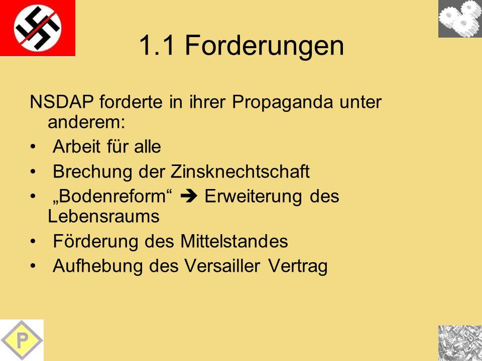 1.1 Forderungen NSDAP forderte in ihrer Propaganda unter anderem: