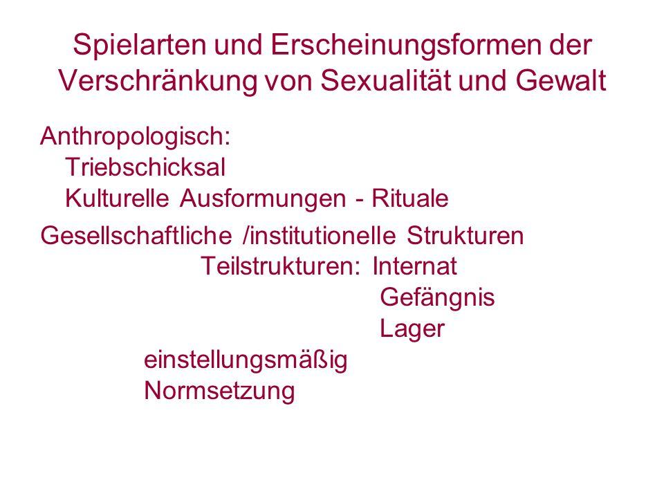 Spielarten und Erscheinungsformen der Verschränkung von Sexualität und Gewalt