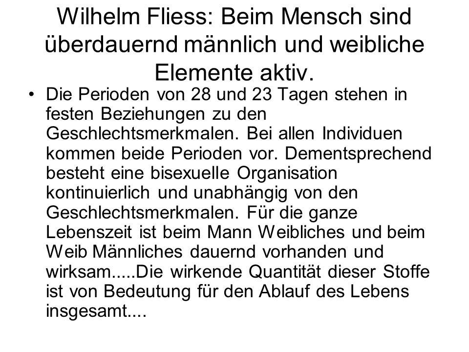 Wilhelm Fliess: Beim Mensch sind überdauernd männlich und weibliche Elemente aktiv.