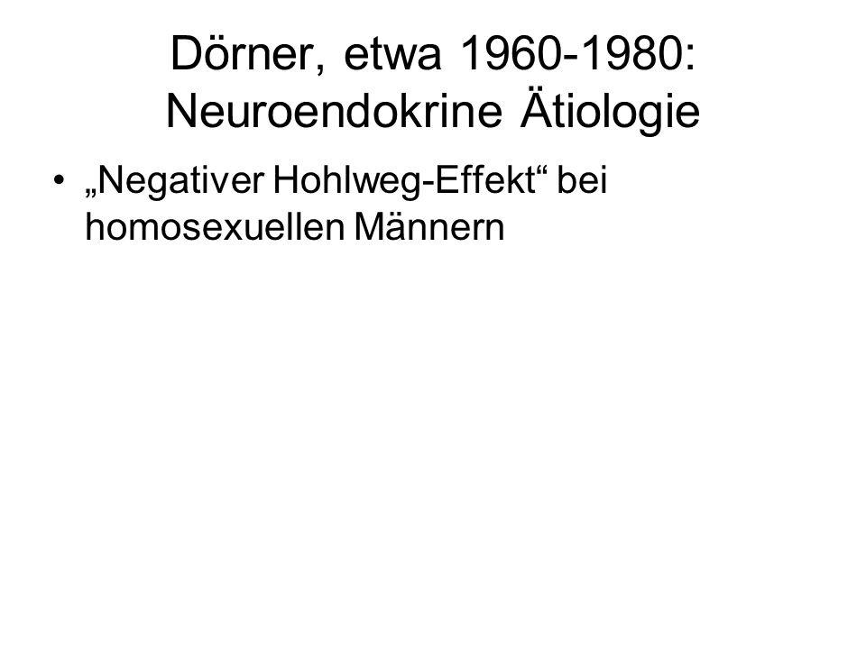 Dörner, etwa 1960-1980: Neuroendokrine Ätiologie