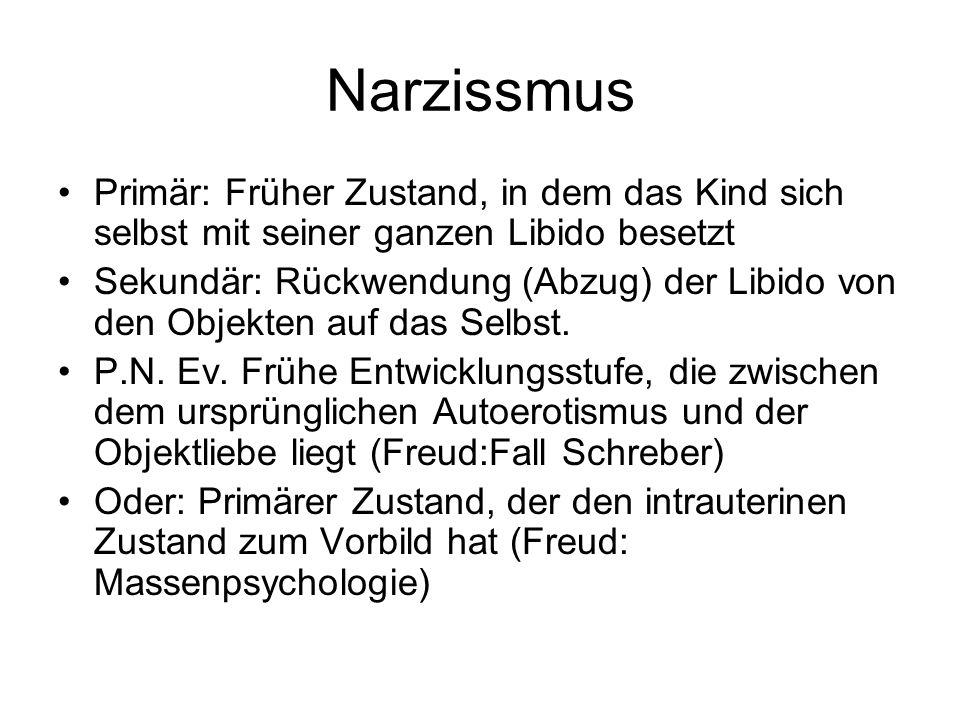 Narzissmus Primär: Früher Zustand, in dem das Kind sich selbst mit seiner ganzen Libido besetzt.